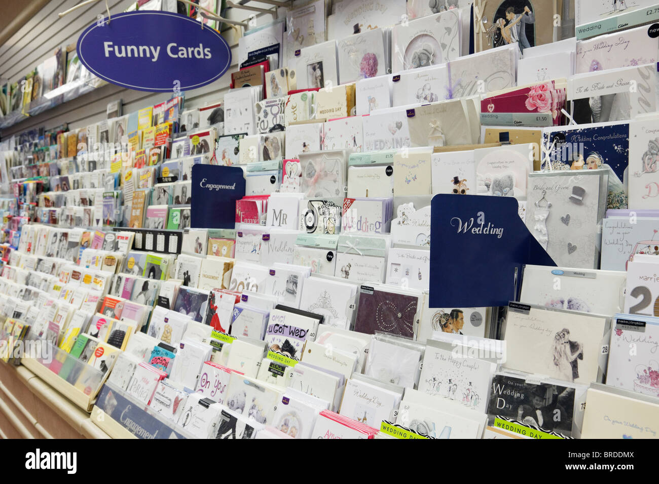 Selection of wedding and engagement greeting cards for sale on a selection of wedding and engagement greeting cards for sale on a display stand inside clintons card shop england uk britain kristyandbryce Images