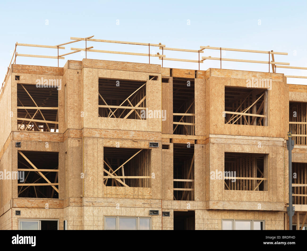 stock photo wooden framing of a residential three story building under construction ontario canada