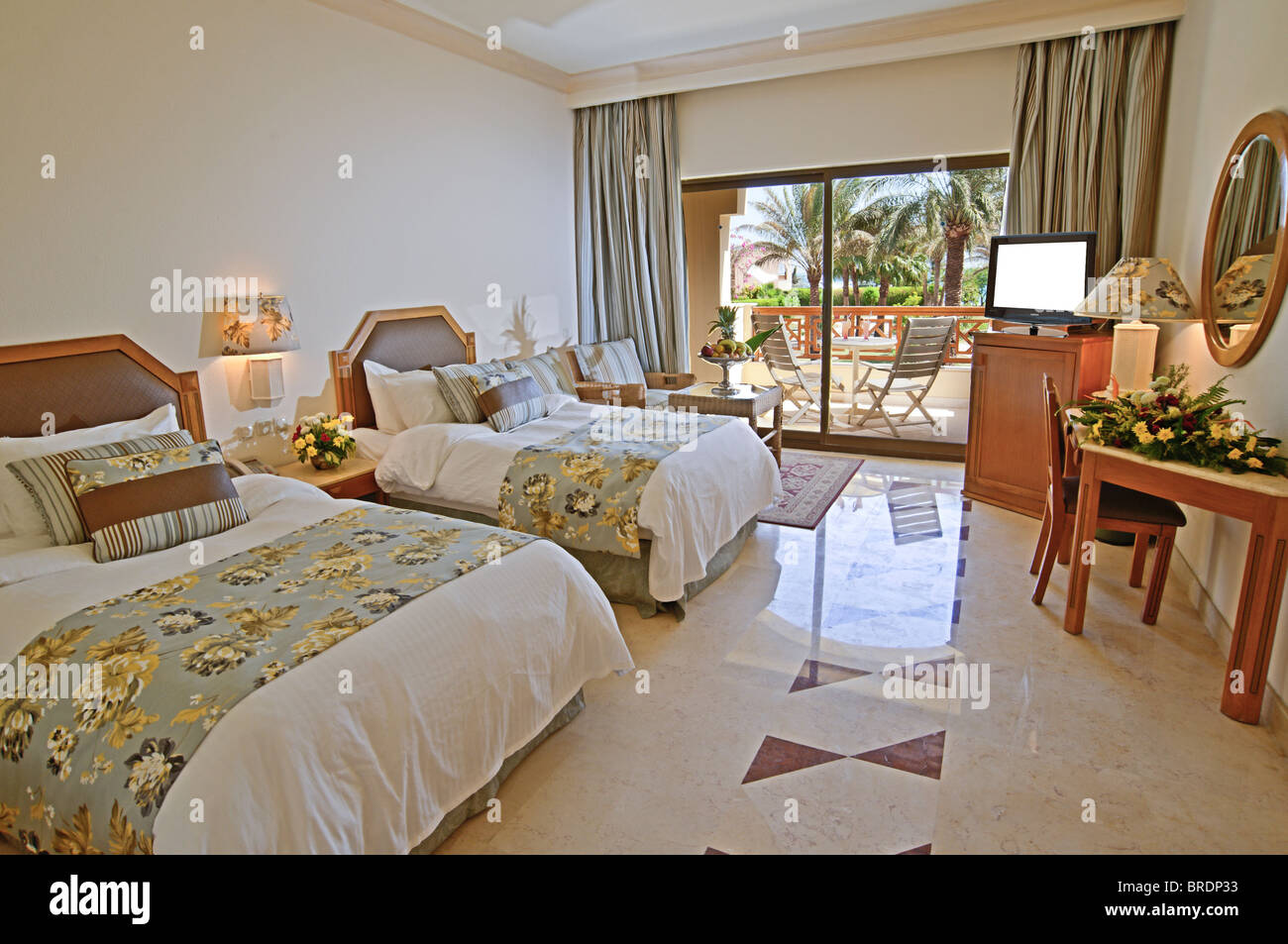 Interior Decor Of A Luxury Hotel Room With A Tropical Sea View