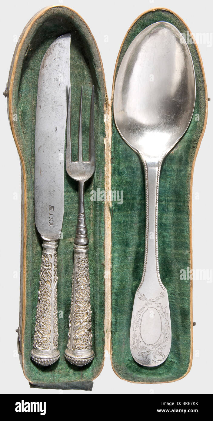 a german silver travel cutlery set in case friesland second a german silver travel cutlery set in case friesland second half of the 18th century knife with curved baroque blade stamp