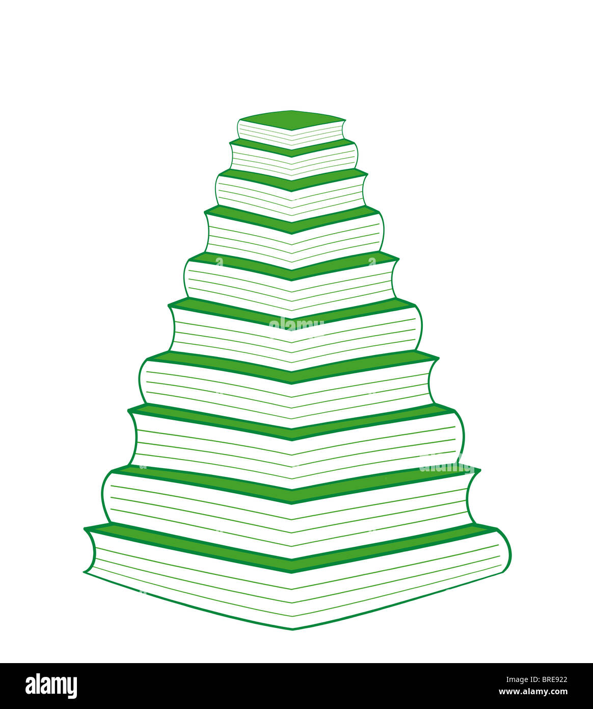 10 green books christmas tree one book on top of each other in perspective - Christmas Tree Book