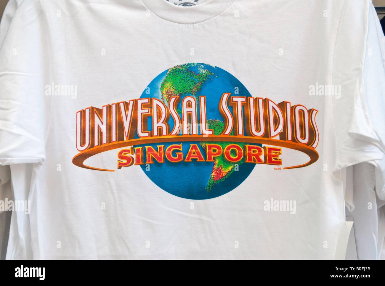 Universal Studios Singapore Logo On A White T Shirt At