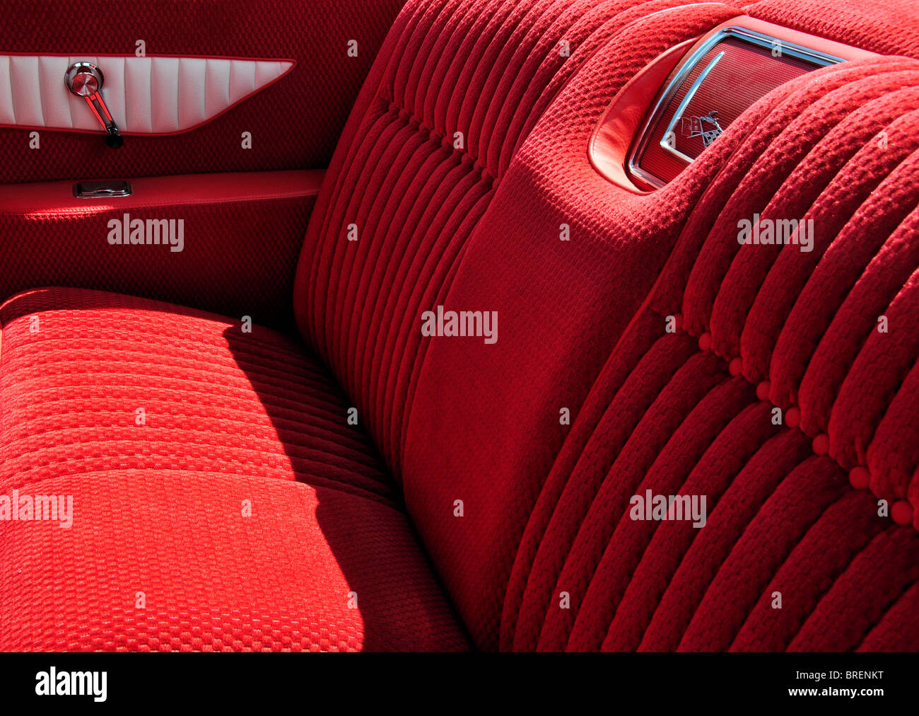 tuck and roll upholstery of rear seat of a classic 1961 chevrolet stock photo royalty free. Black Bedroom Furniture Sets. Home Design Ideas