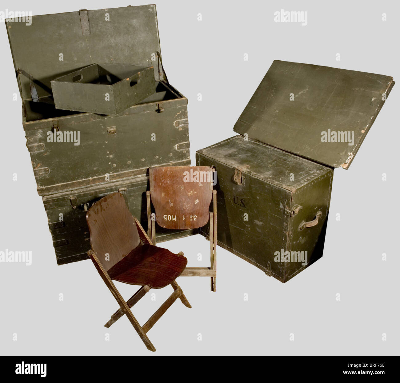 Pieces of furniture from the us army three office