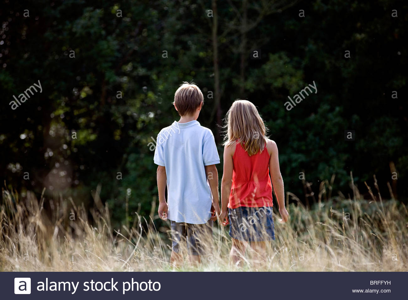 A Young Boy And Girl Walking Through A Field Rear View