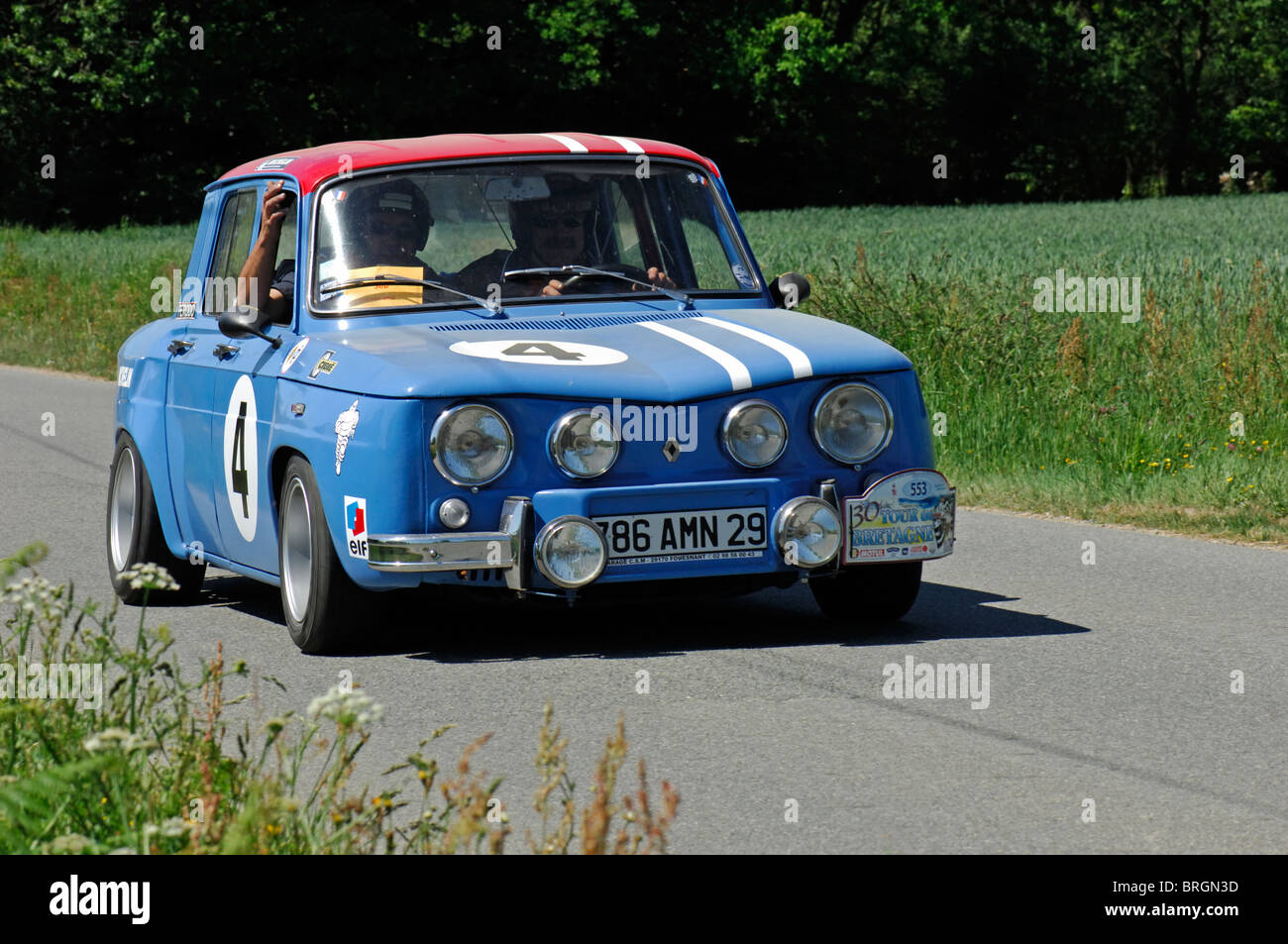 renault r8 gordini 1965 in the tour de bretagne classic car rally stock photo royalty free. Black Bedroom Furniture Sets. Home Design Ideas