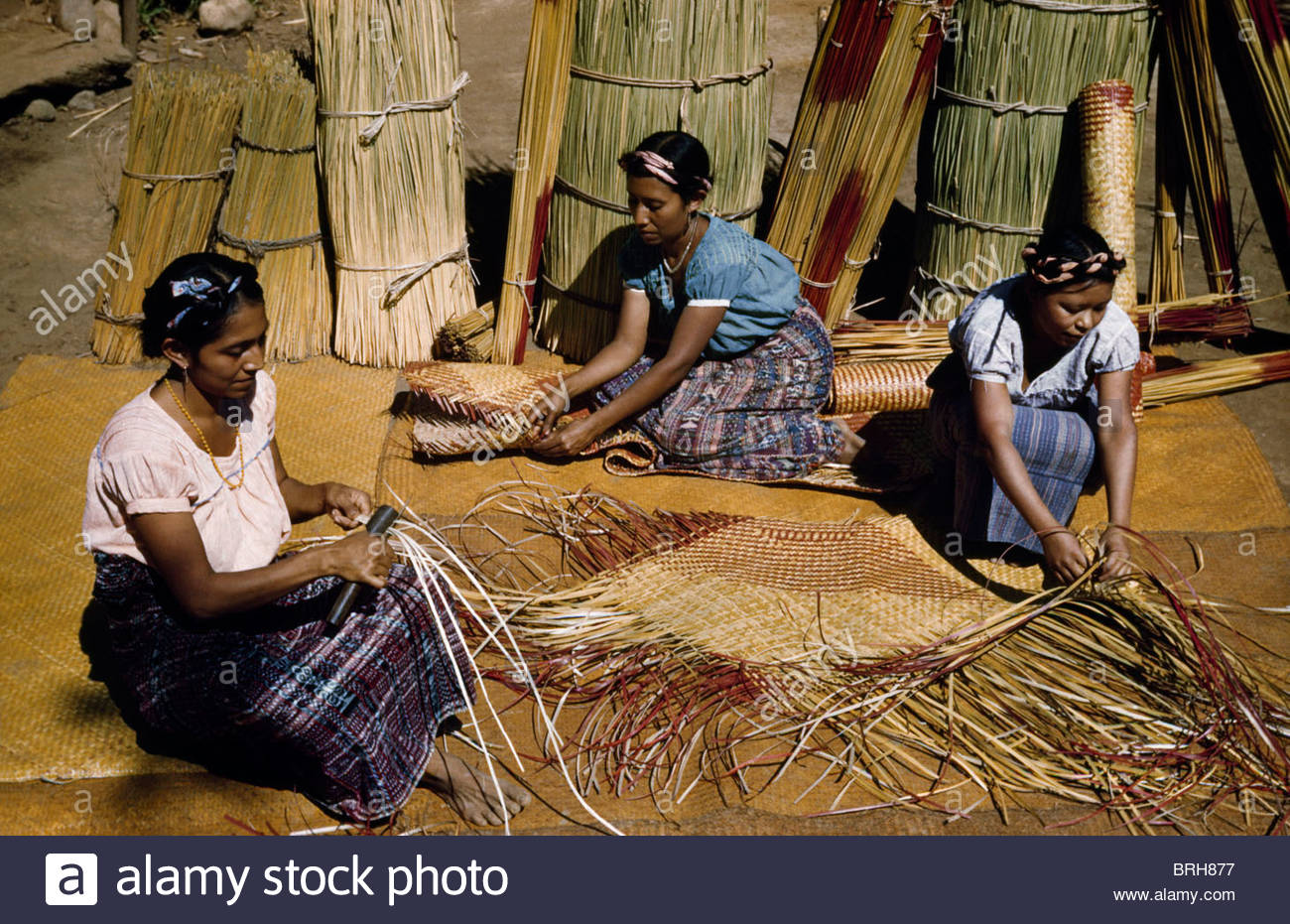 Floor mats to sleep on - Stock Photo Women Make Sleeping Mats Called Petate And Floor Mats From Tule
