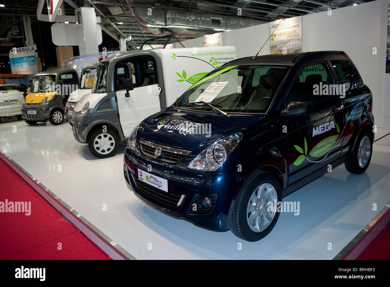 paris france paris car show small electric cars mega corp products on display