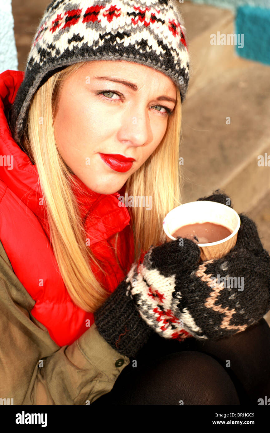 Woman Drinking Hot Chocolate. Model Released Stock Photo, Royalty ...