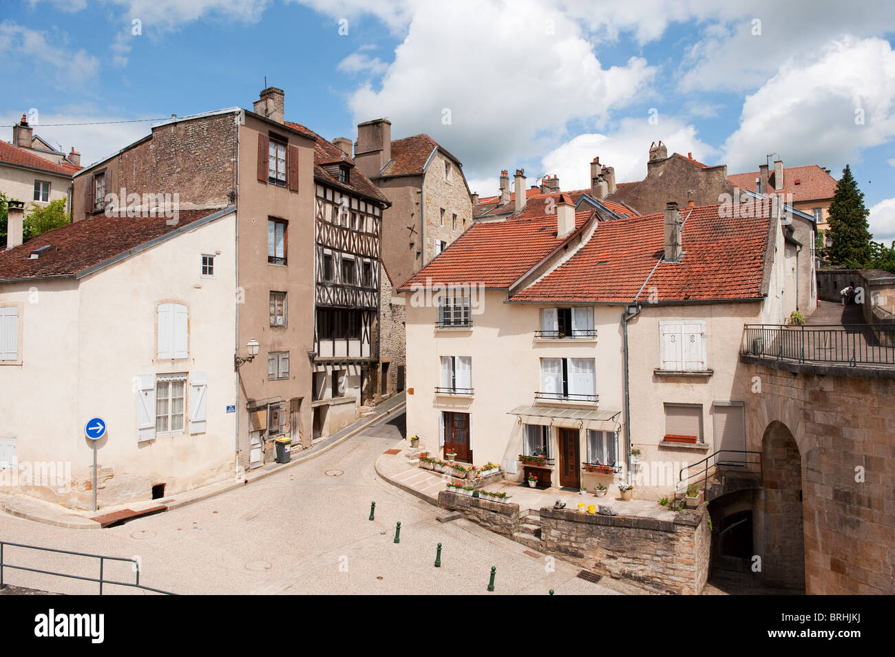 street scene in the old french village langres stock photo 31735302 alamy. Black Bedroom Furniture Sets. Home Design Ideas