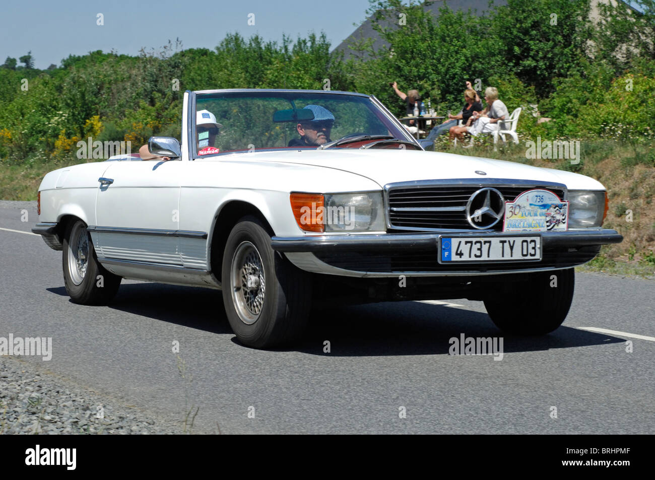 mercedes benz 350sl 1970 in the tour de bretagne classic car rally stock photo royalty free. Black Bedroom Furniture Sets. Home Design Ideas