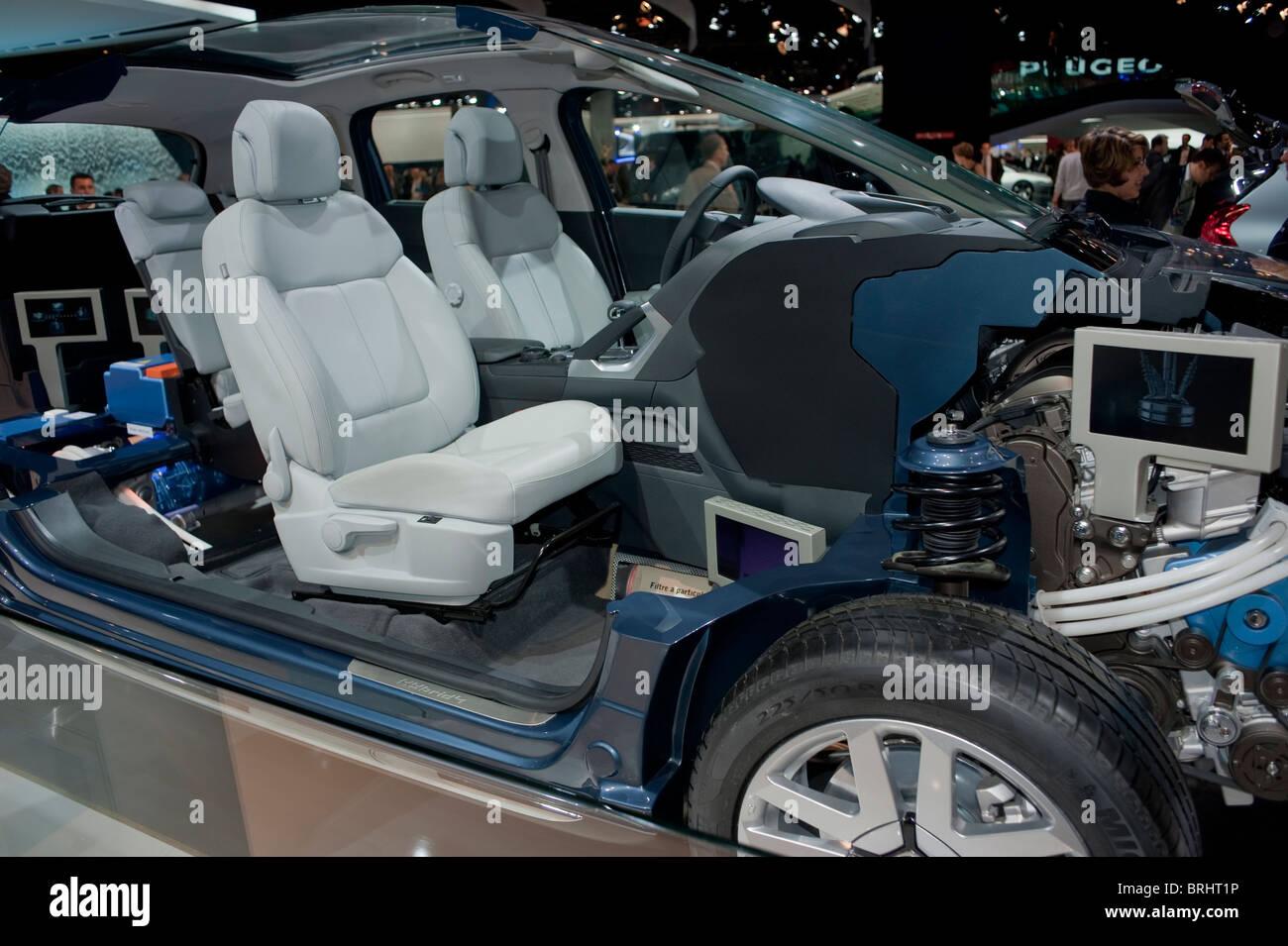 Paris, France, Paris Car Show, Peugeot 3008 Hybrid Engine