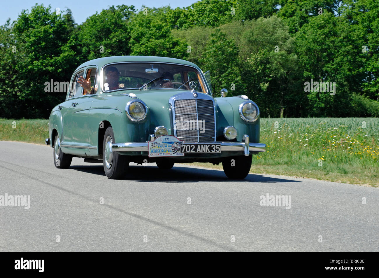 mercedes benz 220s ponton 1958 in the tour de bretagne classic car stock photo royalty free. Black Bedroom Furniture Sets. Home Design Ideas