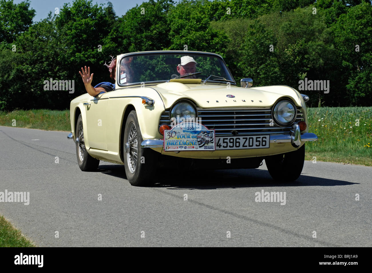 triumph tr4 1965 in the tour de bretagne classic car rally 2010 stock photo royalty free. Black Bedroom Furniture Sets. Home Design Ideas