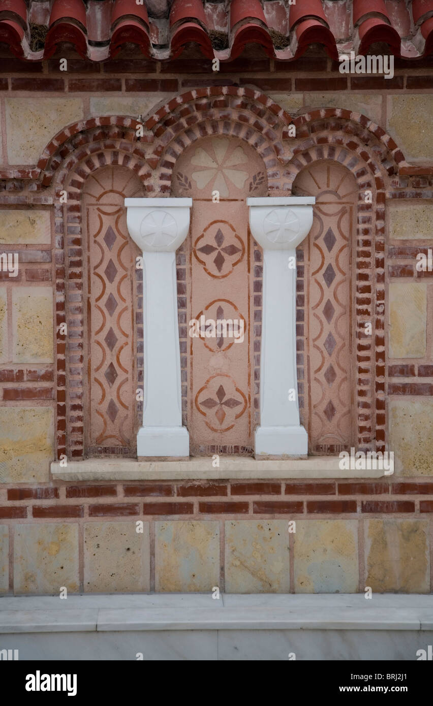 decorative white marble columns drawings patterns brick wall stock