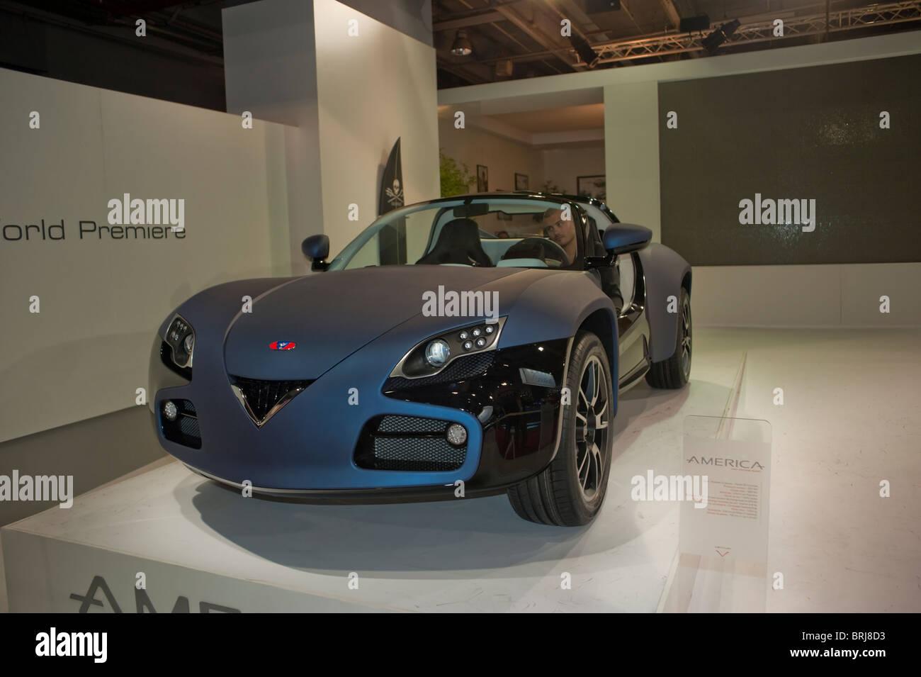 Paris, France, Paris Car Show, Peugeot Venturi Electric Cars, 2 ...