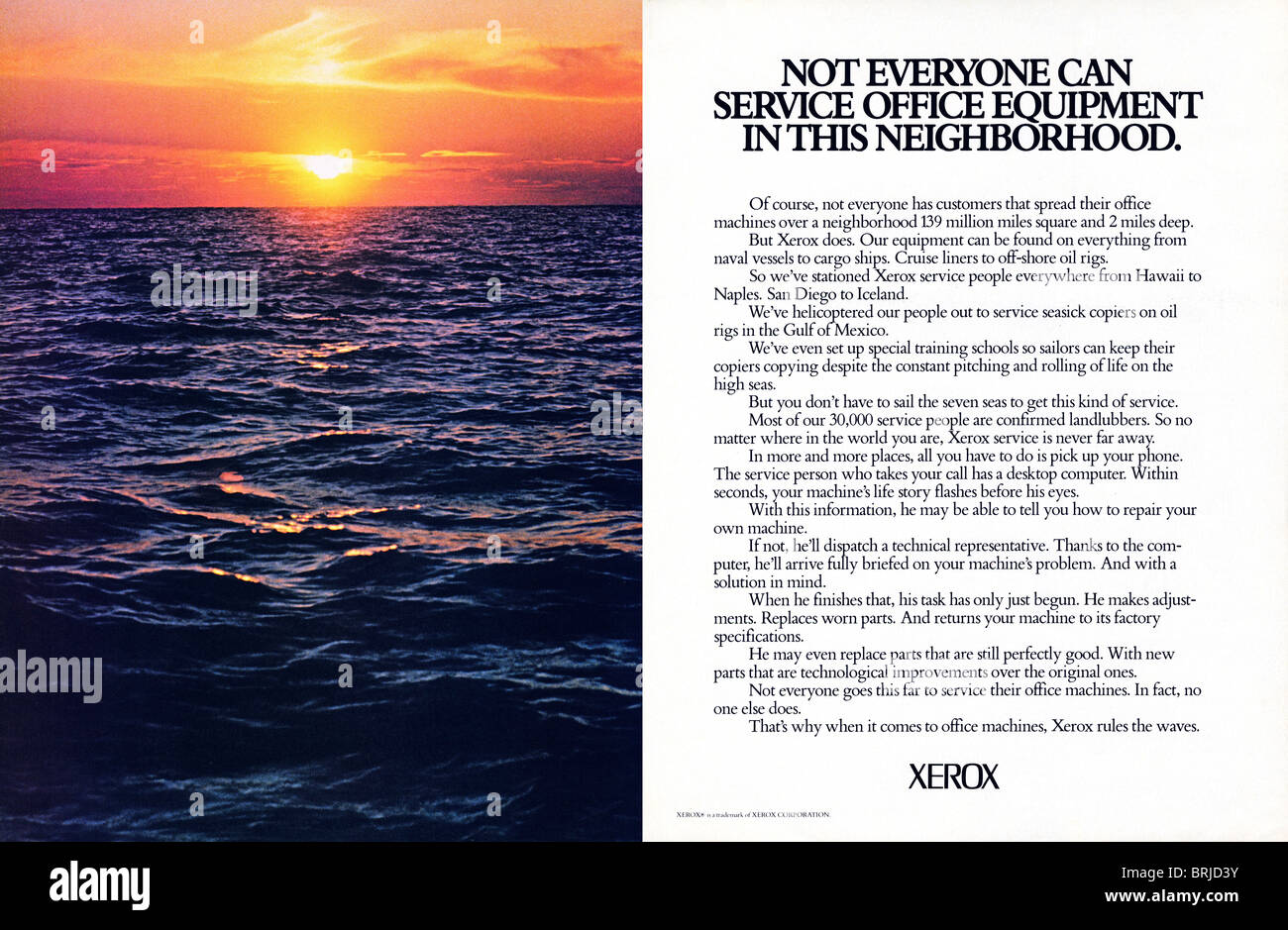 Color Double Page Spread Advert For Xerox Copiers In American Fashion  Magazine Circa 1983