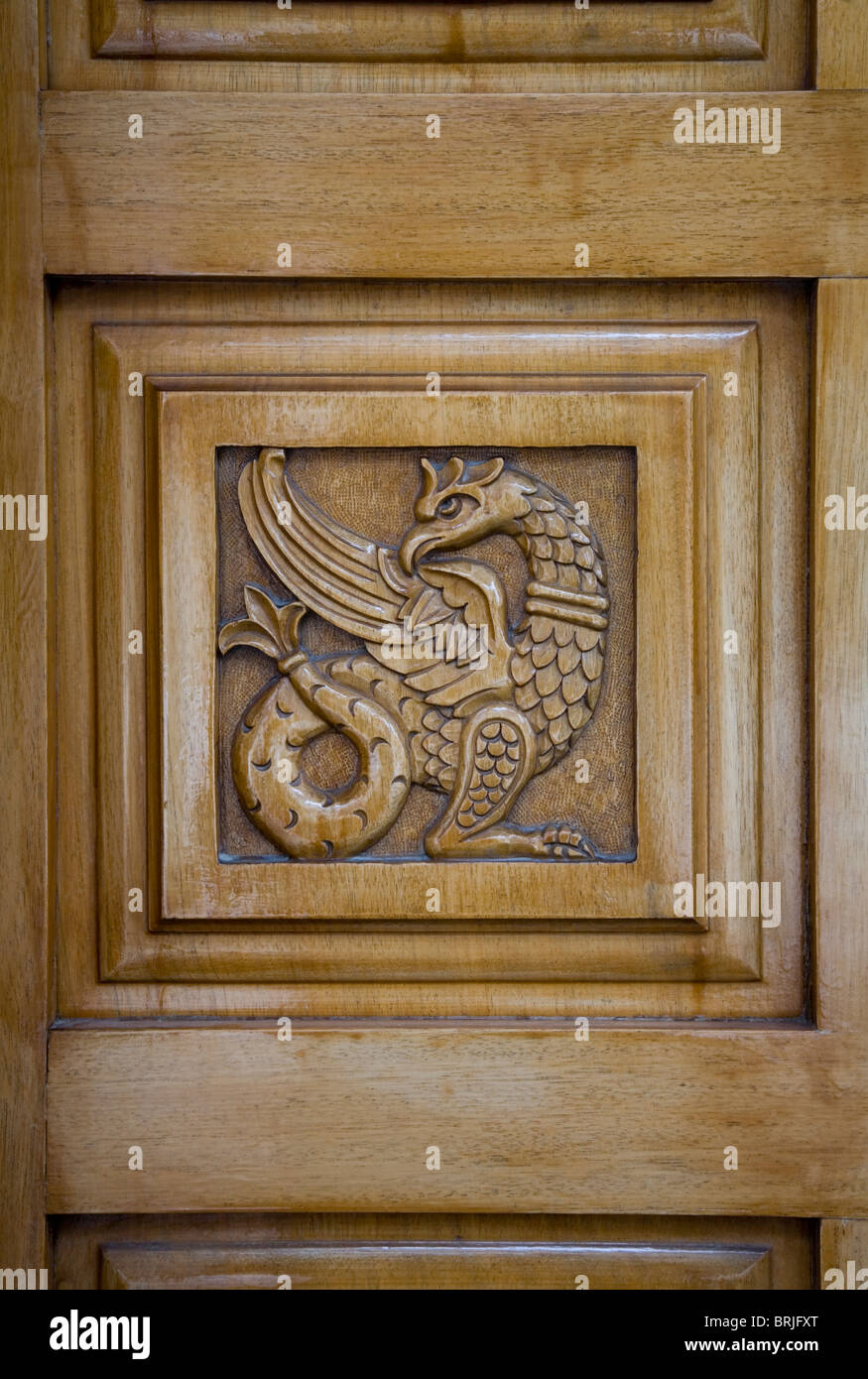 Amazing Dragon Animal Engraving Wooden Christian Church Door Square Decoration  Symbol Brown Art Christianity Anaglyph Beast