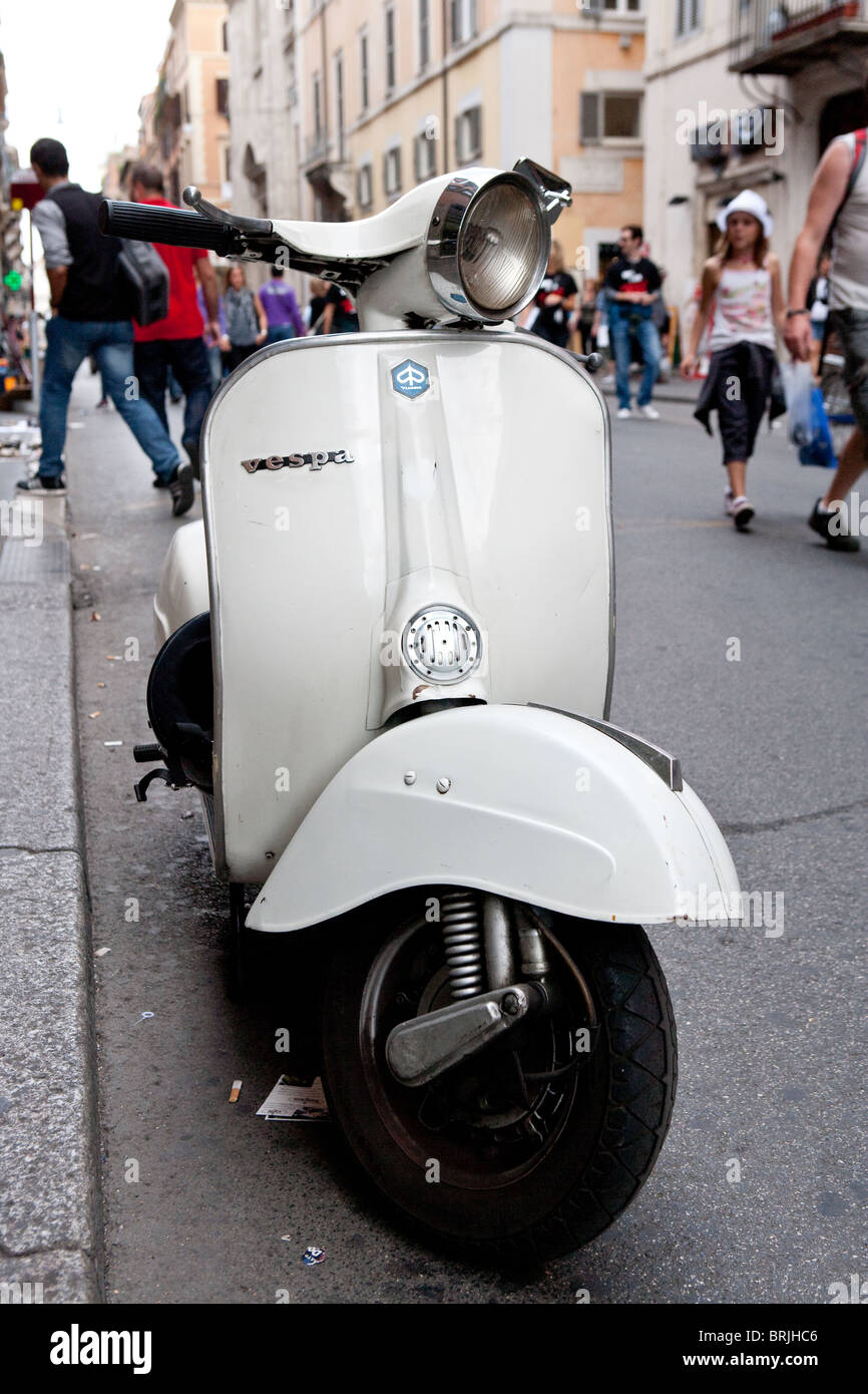 vespa motor scooter piaggio old motorcycle rome italy stock photo