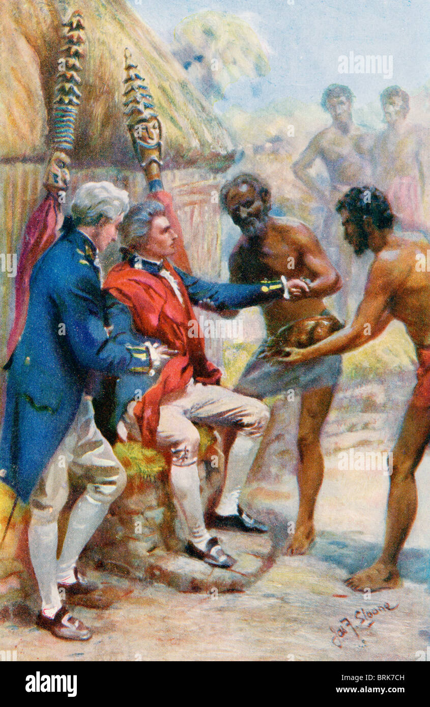 Captain james cook received by the natives of hawaii stock photo captain james cook received by the natives of hawaii sciox Images