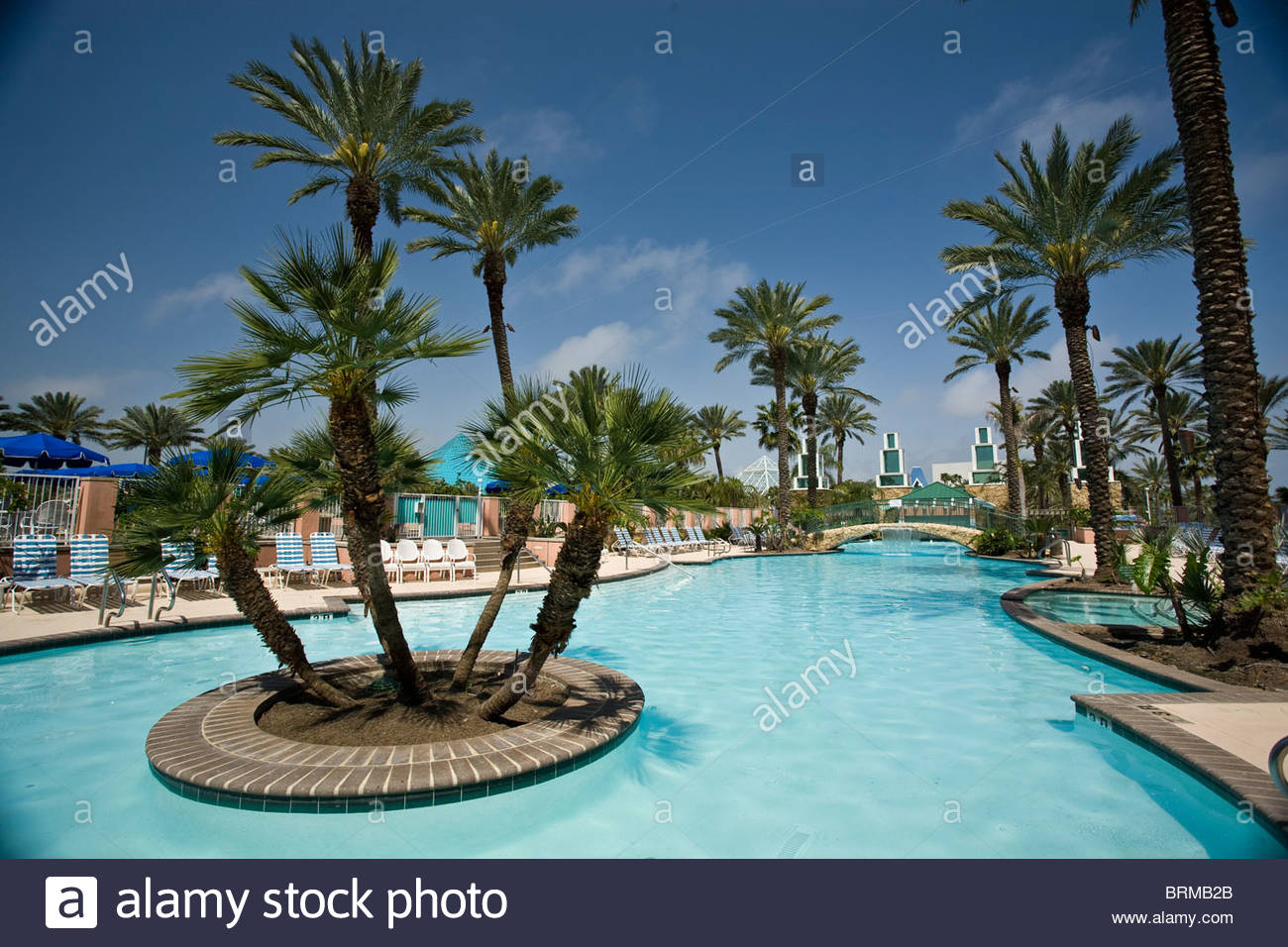 Moody Gardens Resort swimming Pool Galveston Texas Stock Photo