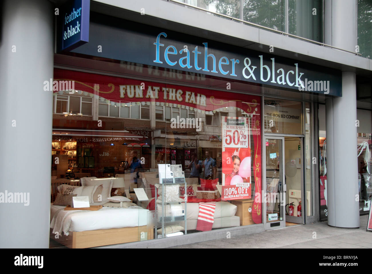 The Store Front Of Feather Black Bedroom Furniture Bedding On Tottenham Court Road London UK