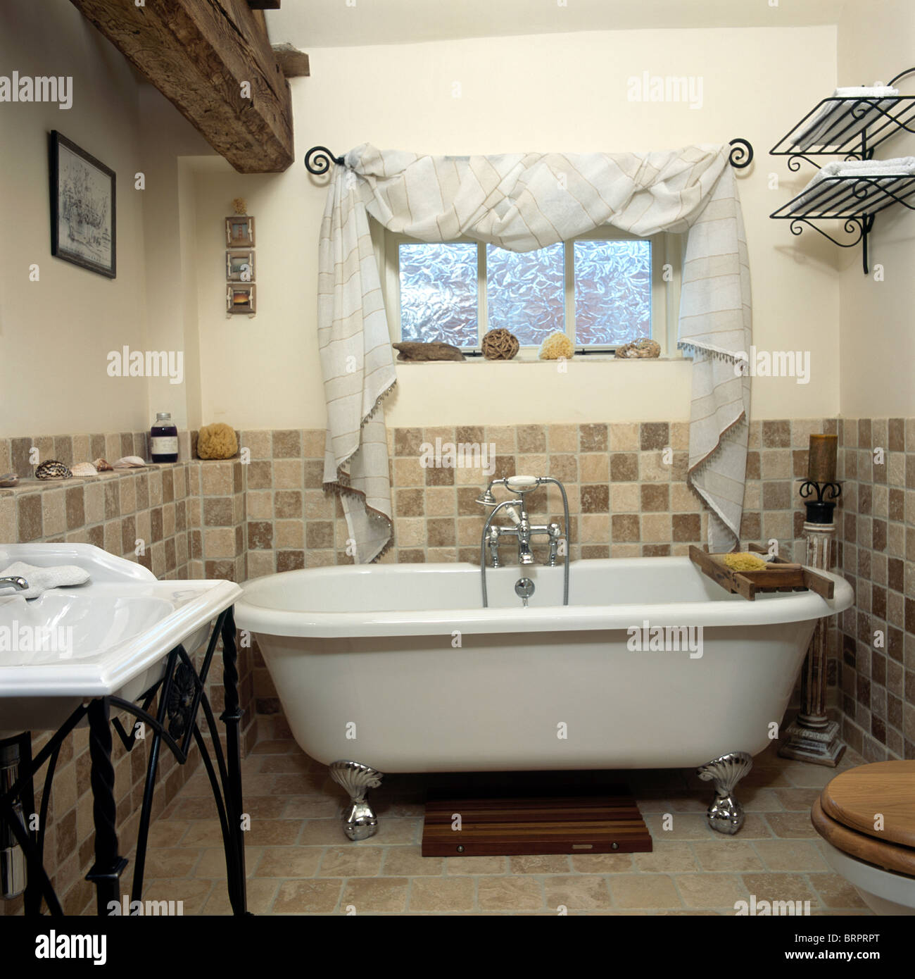 Roll Top Bath Below Window With Draped White Fabric On Pole In Country  Bathroom With Dado Height Tiled Walls Part 63