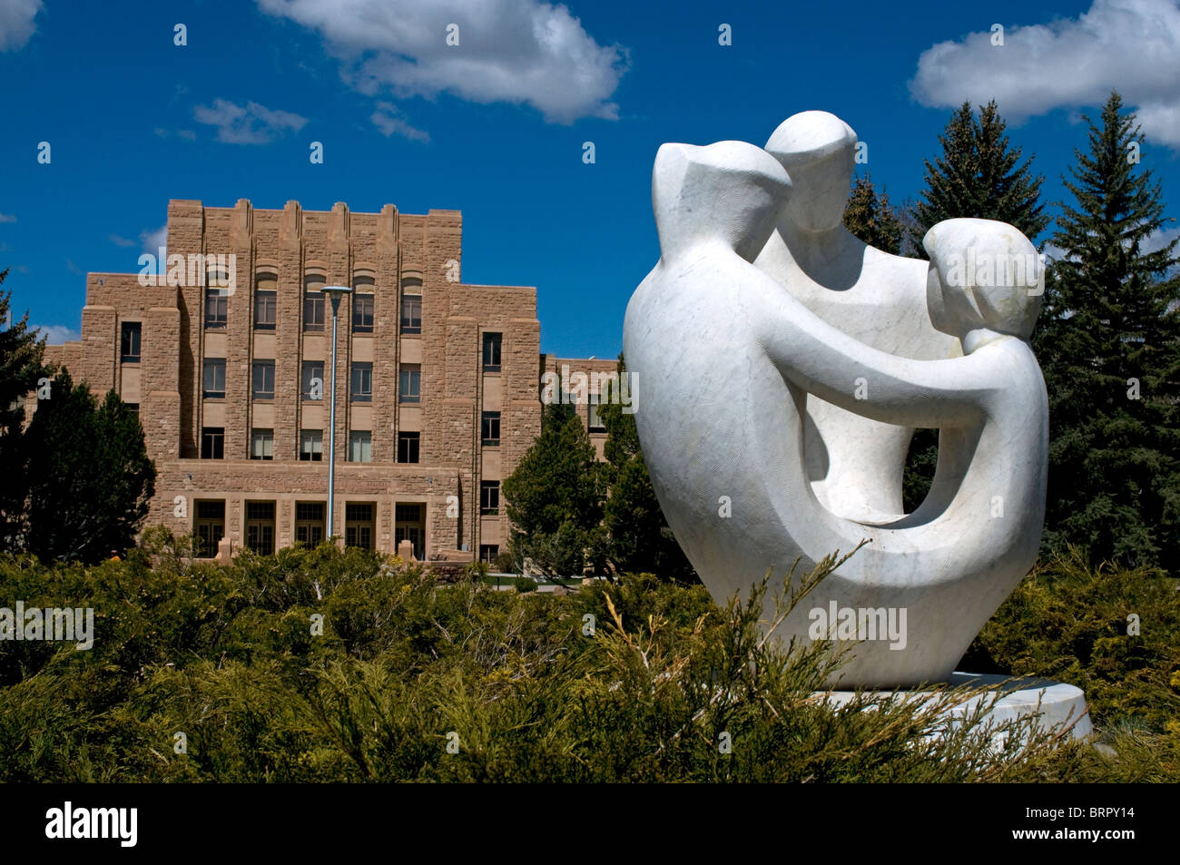 Modern sculpture in prexy s pasture at university of wyoming in laramie