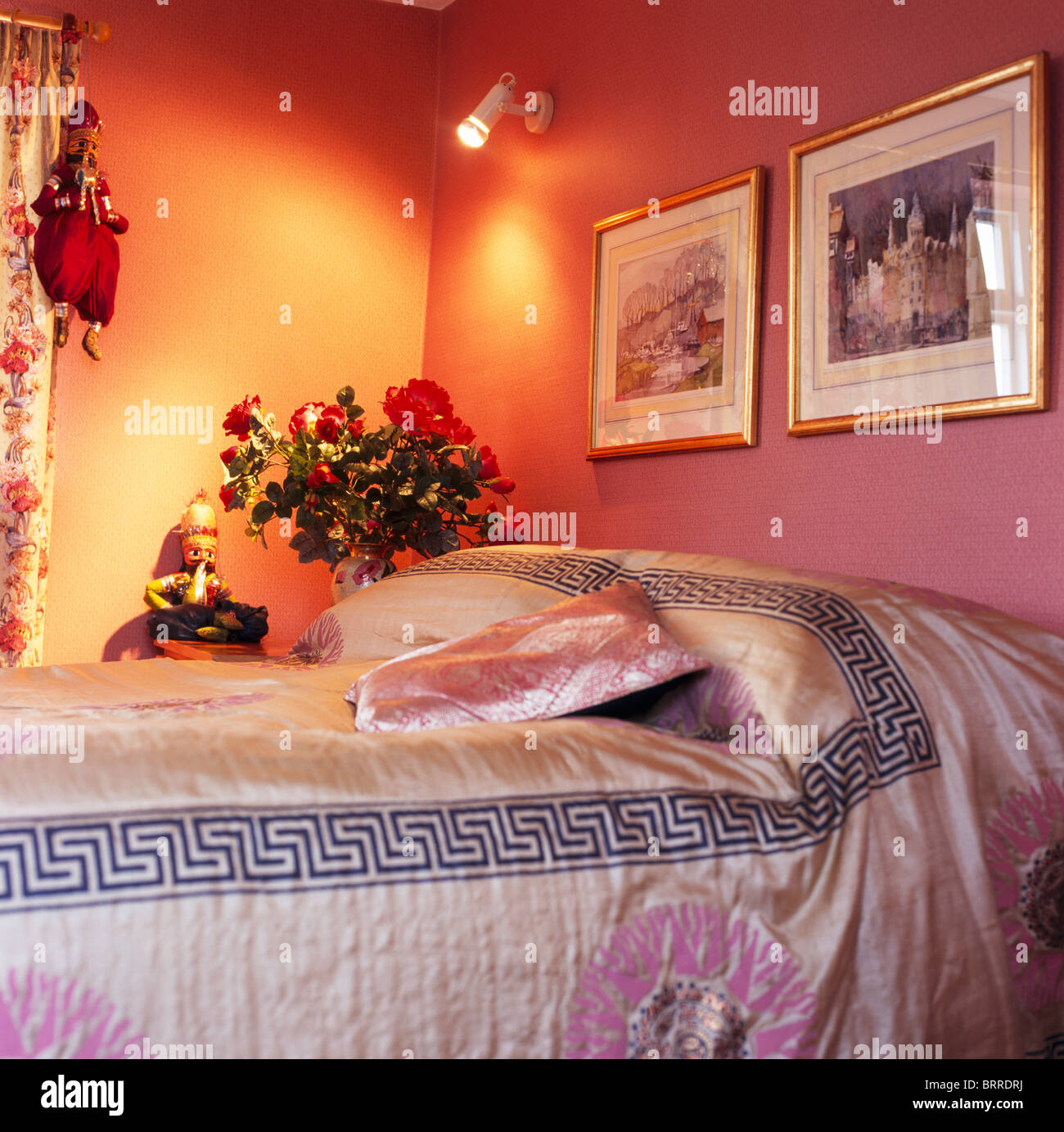 Orange And Pink Bedroom Interiors Bedrooms Traditional Bed Covers Stock Photos Interiors