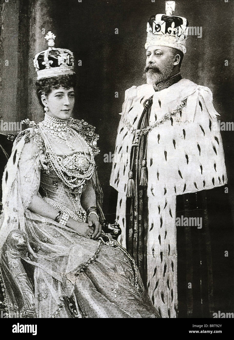 KING EDWARD VII AND QUEEN ALEXANDRA in their Coronation robes 9 August 1902  , Stock Image