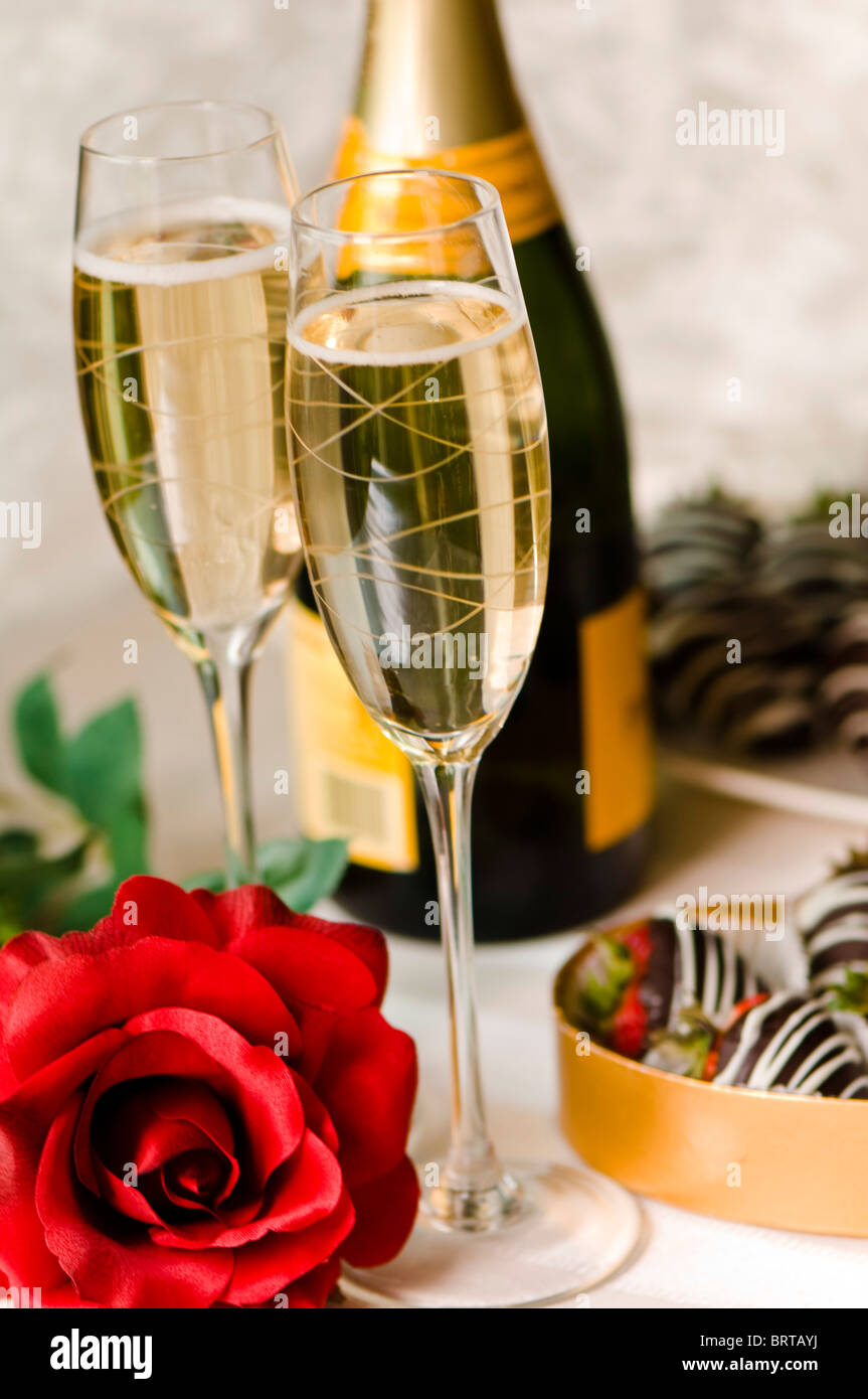 Champagne And Chocolate Covered Strawberry
