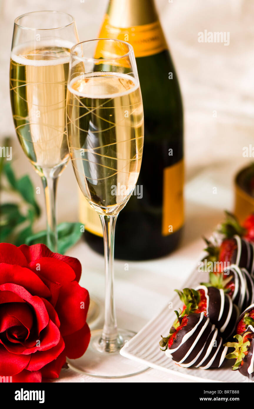 Champagne And Chocolate Covered Strawberry Stock Photo