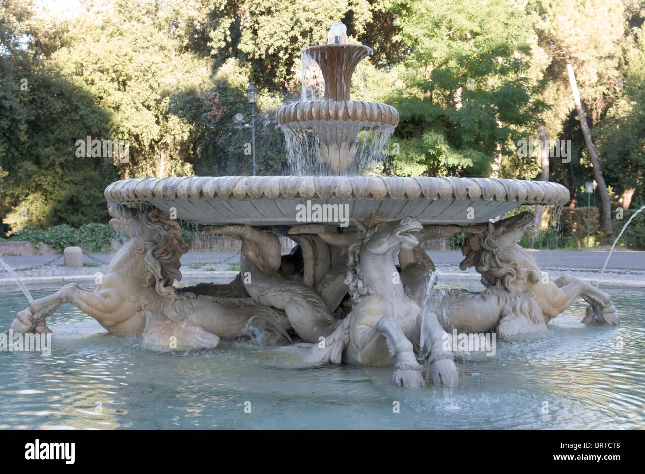 Fontana Dei Cavalli Marini In Villa Borghese