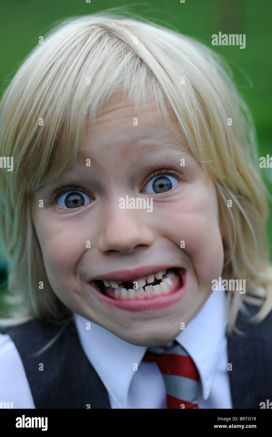 Grimace face clip art stock photo woman pulls a face in upset - 6 Year Old School Girl Pulling A Silly Face With A Missing Front Tooth Stock