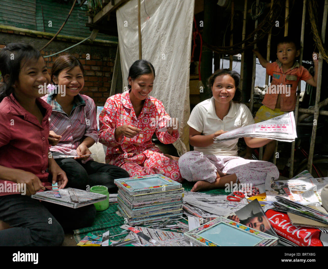 Cambodia women trained to make handicrafts from recycled for Waste material handicrafts