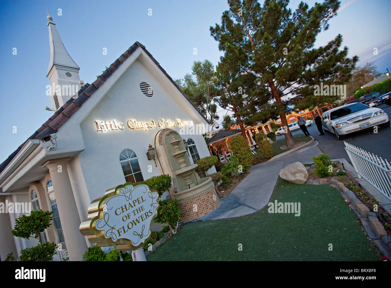 Chapel of the flowers Wedding chapel marriage Las Vegas Strip Stock