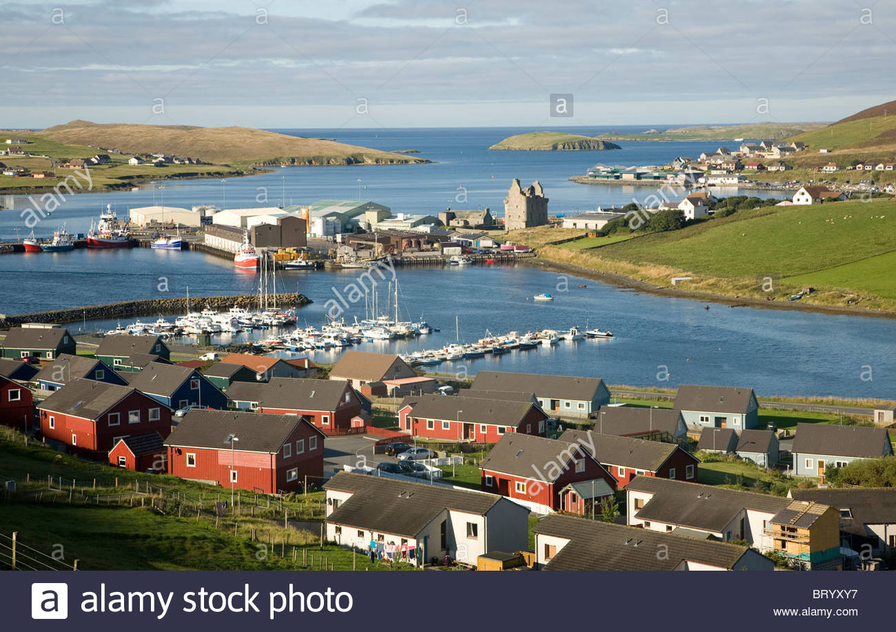 Scalloway Village And Harbour Shetland Islands Scotland