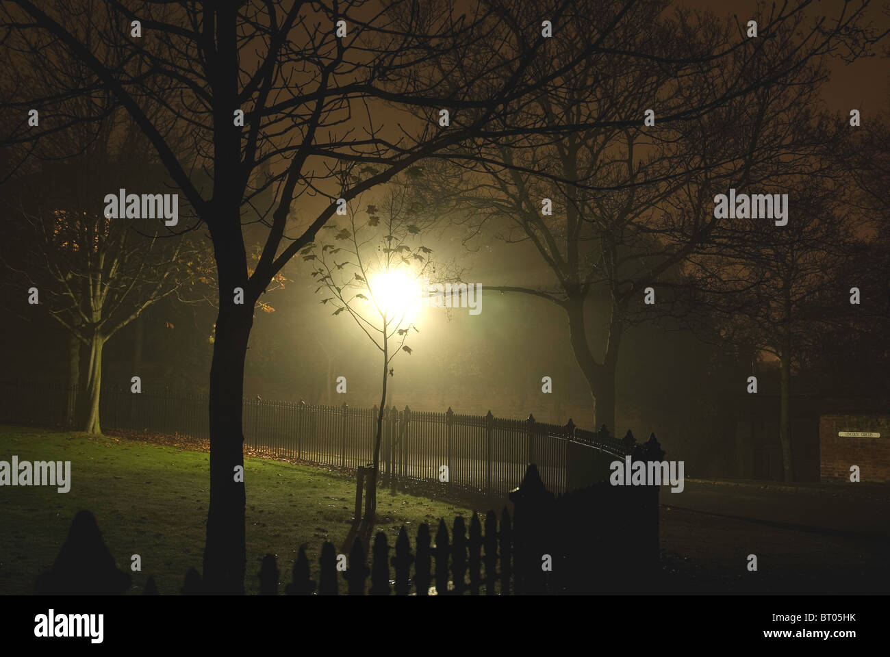 Victorian night lamps - Stock Photo Trees And Railings In A Wet Victorian Or Edwardian Street In An Urban Estate On A Dark And Foggy Night Illuminated By Gas Lamps