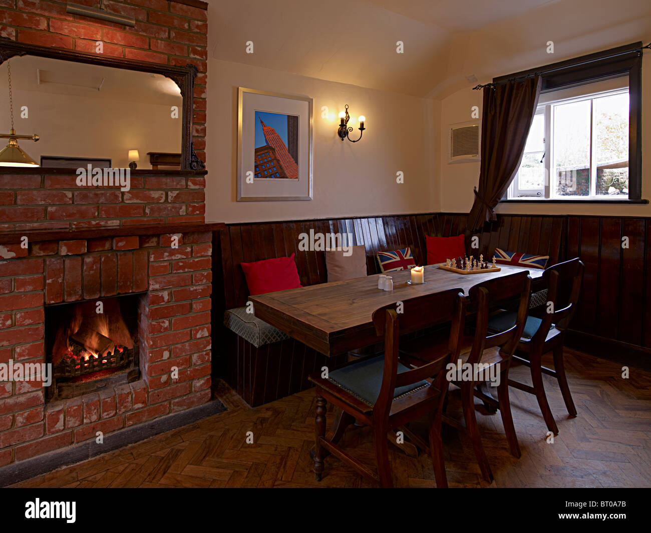 An interior of an old english pub or public house in the UK Stock