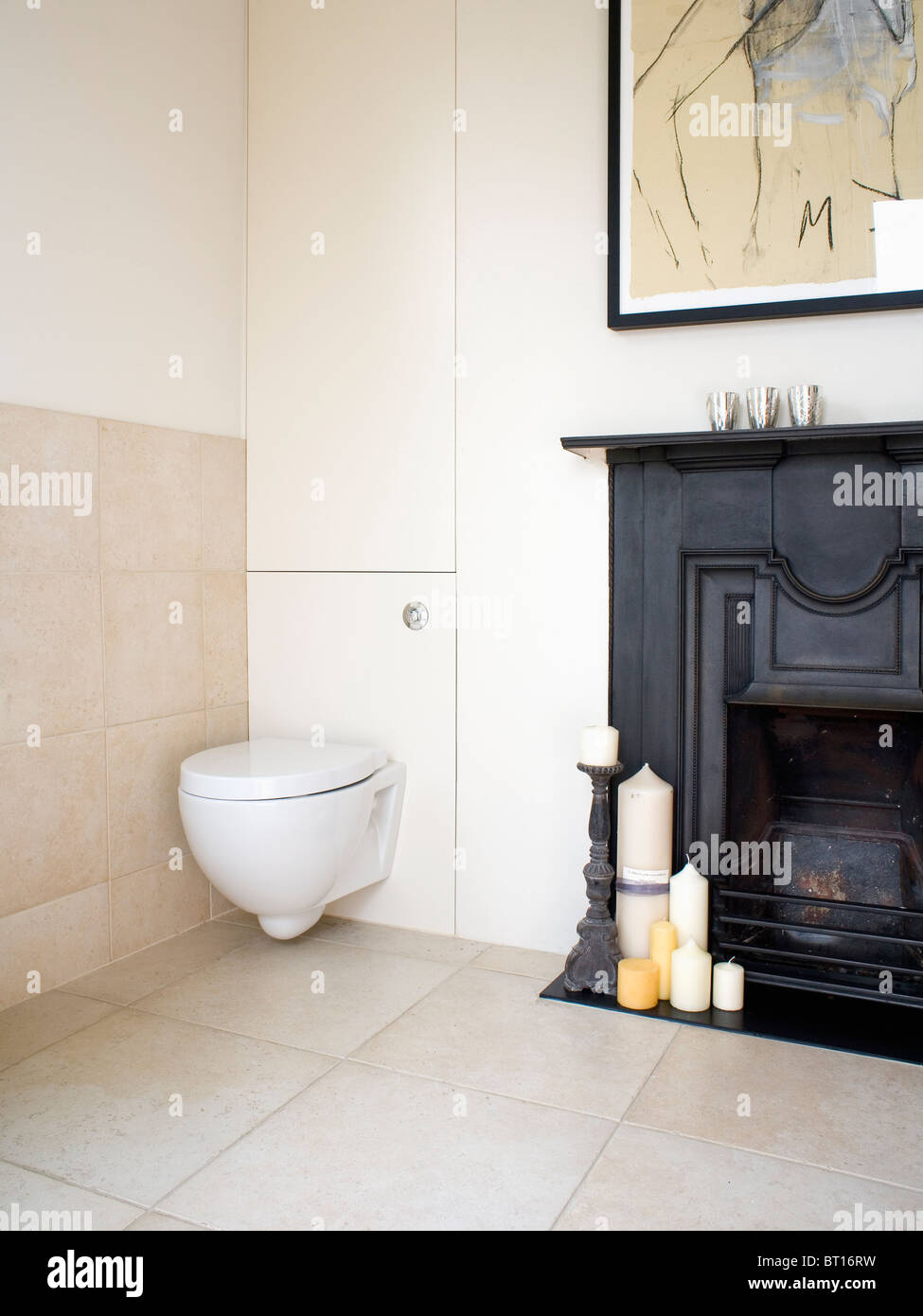 Modern Bathroom With Toilet Beside Traditional Black Castiron - Candles for bathroom