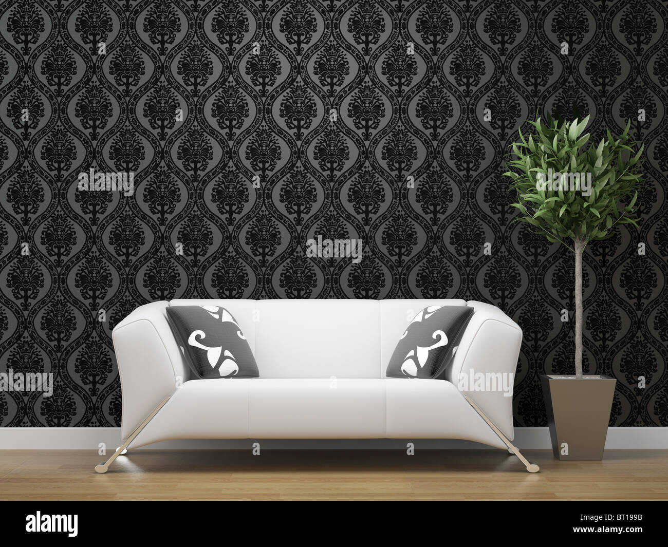 interior design of white sofa on black and silver wallpaper stock