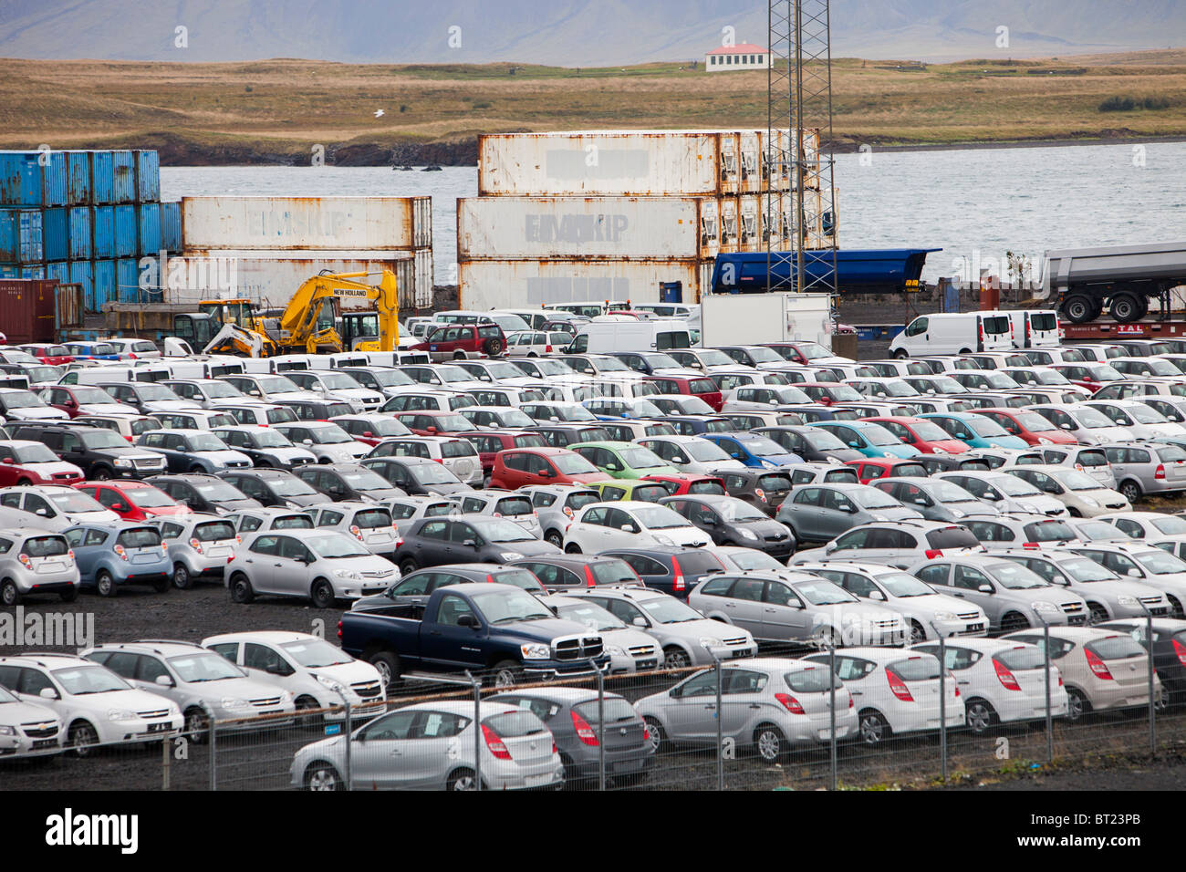 Cars Imported Into Iceland At A Container Port In Reykjavik Stock