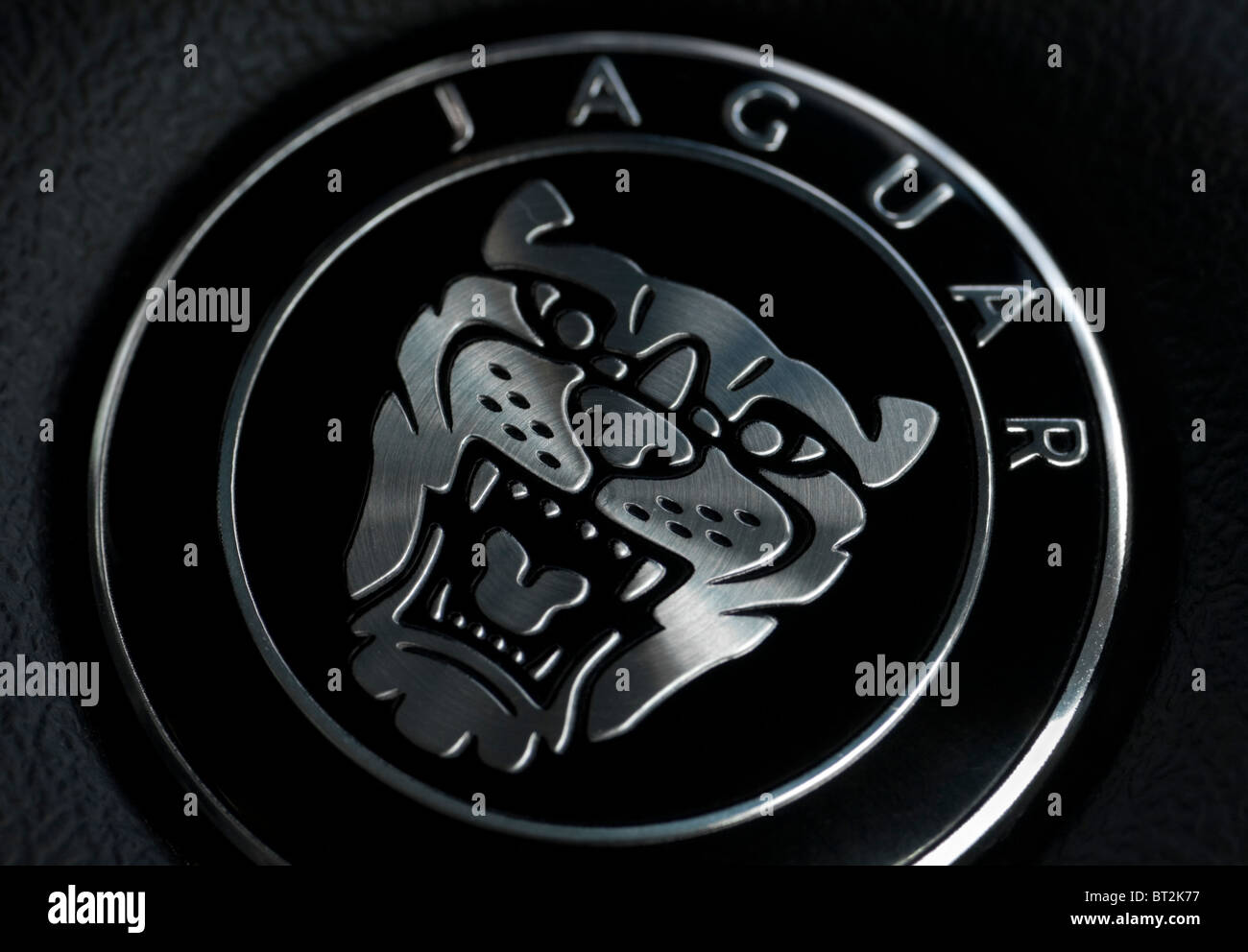 Macro Photo Of The Famous Jaguar Badge On The Steering