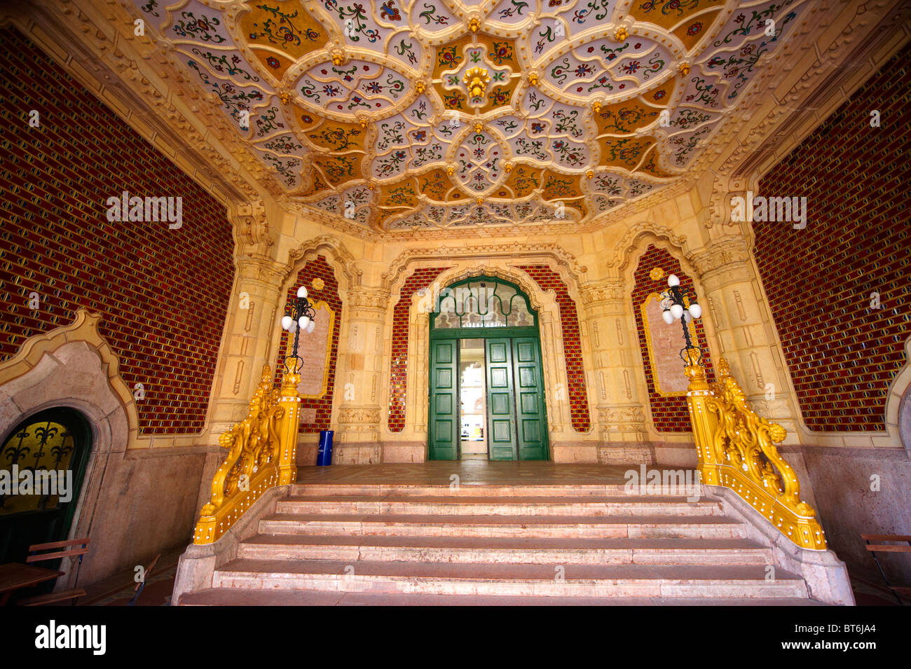 The entrance hall of art nouveau museum of applied arts with the entrance hall of art nouveau museum of applied arts with zolnay tiles ceramic hand rails budapest hungary dailygadgetfo Gallery