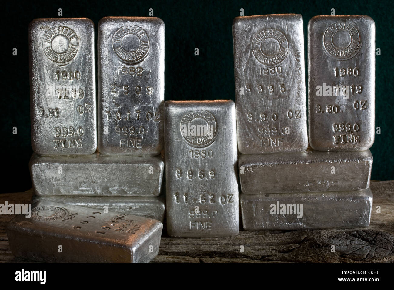 Homestake Mining Company Silver Bullion Bars Lead South