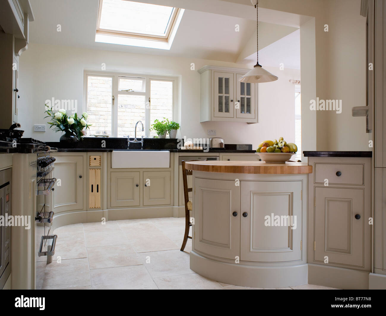 Limestone Flooring Kitchen Off White Fitted Units In Traditional Kitchen Extension With Stock