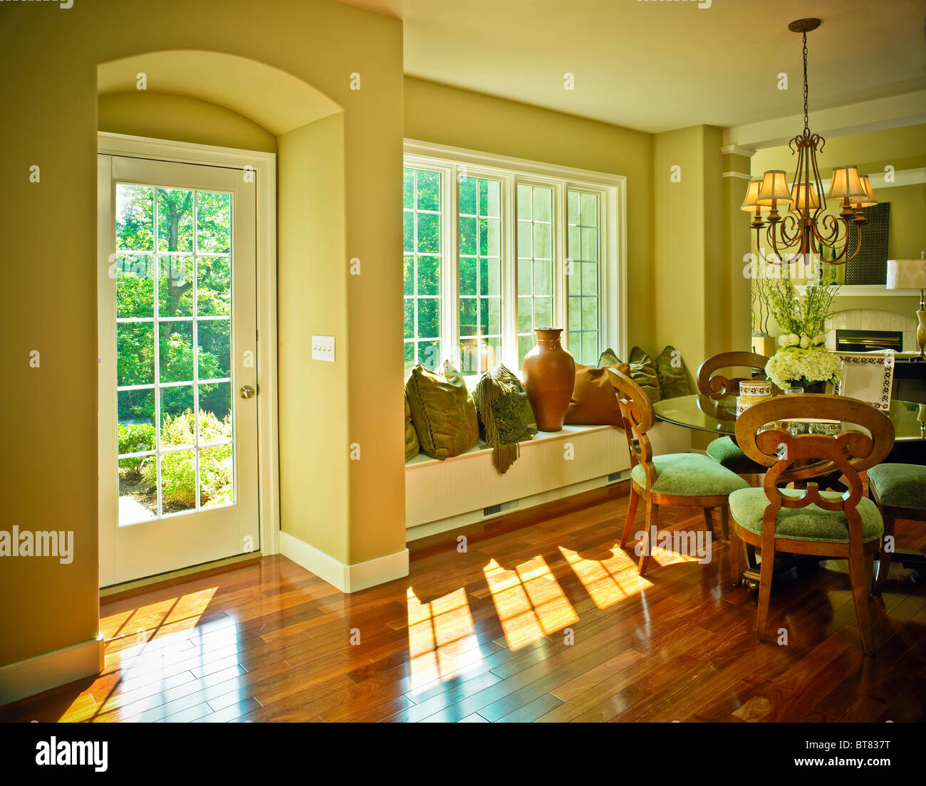 dining room french door alcove window vases hardwood flooring – French Doors Dining Room
