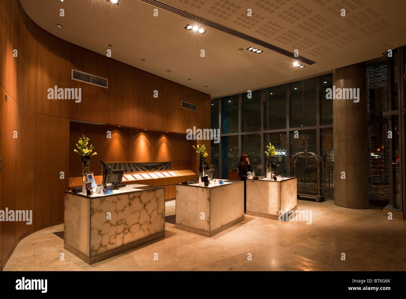 entrance lobby to modern hotel stock photo royalty free