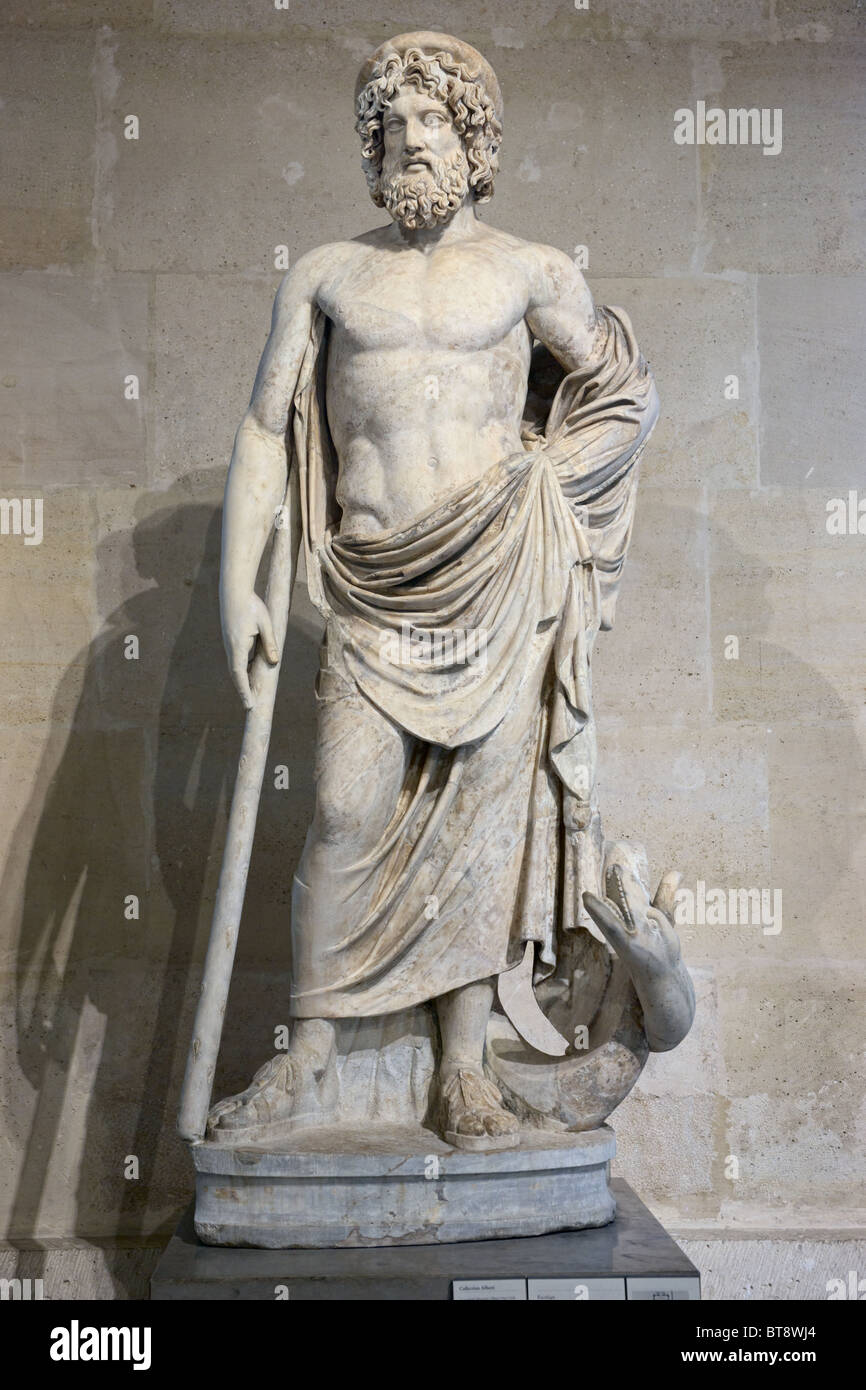 Rod of aesculapius stock photos rod of aesculapius stock images asclepios greek god of medicine statue louvre museum paris stock image buycottarizona Gallery