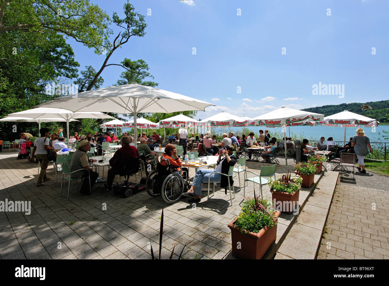 garden restaurant on mainau island on lake constance stock. Black Bedroom Furniture Sets. Home Design Ideas